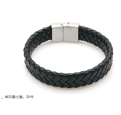 Fashion Jewelry Black Braided Leather Bracelet Men Stainless Steel Silver Bracelets Bangles De Couro Pulseiras Masculinos