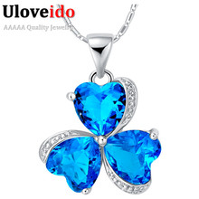 2016 Women's Necklace Silver Fashion Wedding Ruby Jewelry Party Crystal Pendants with Blue Stone Amour Bague Femme Collar N880(China (Mainland))