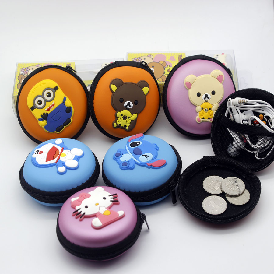 1x Round Macaron Cartoon Nylon Earphone Headphone Storage Hard Case Pocket Carrying Zipper Bag Holder(China (Mainland))