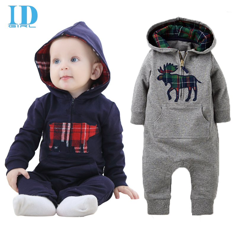 Baby Rompers 2016 Fashion Newborn Jumpsuit Clothes Ropa De Long Sleeve Hooded Cotton Baby Costume Spring Autumn Romper JY063(China (Mainland))