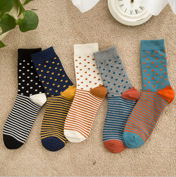 5 styles new high quality combed cotton men autumn winter creative brand happy socks with little contrast color dots and stripes