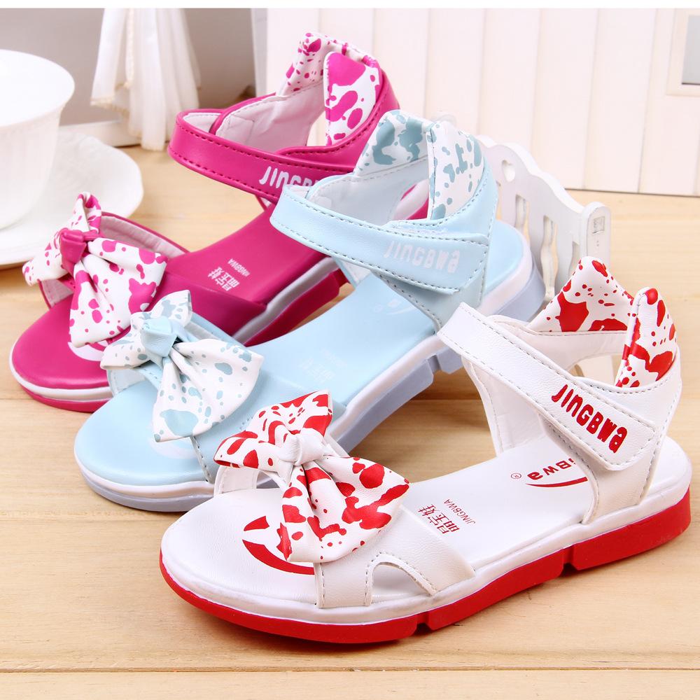 J.G Chen 2015 New Summer Shoes For Girls With Bow-tie Sandals EU 26-30 Kids Sandals Princess Design Best Price Children Sandals<br><br>Aliexpress