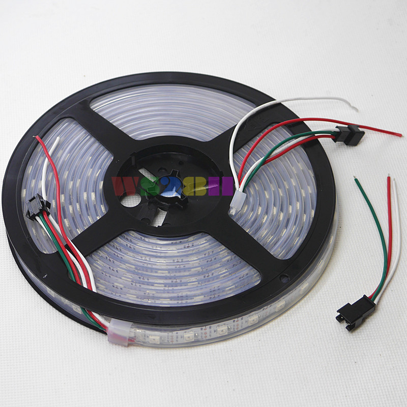 5M DC5V WS2812 WS2811 IC 5050 60LED/m RGB SMD Waterproof IP67 Or Non-Waterproof Addressable Color Flexi LED Strip White PCB(China (Mainland))