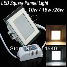 Freeshipping 10W/15W/25W Glasses led Square panel Recessed Wall ceiling Downlight AC85-265V  ,Warm /Cool white,indoor lighting(China (Mainland))