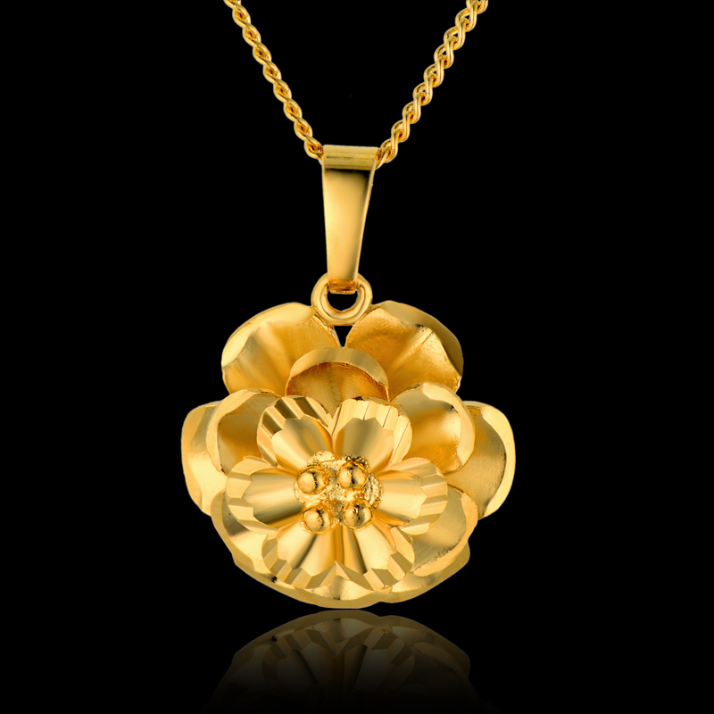 Wholesale Charms Flower Necklace Female,18K Real Gold Plated Elegant Flower Pendant Necklace Brand Vintage Cheap Costume Jewelry(China (Mainland))
