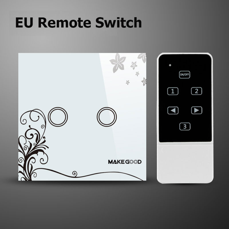 Makegood EU Standard 2 Gang 1 way Remote Control Switch Crystal Glass Panel Touch Wall Light Switch With LED Indicator(China (Mainland))