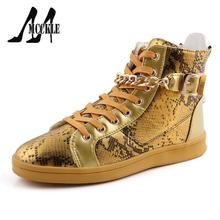 Fashion Men Shoes Punk Style Men Flat Shoes With Metal Chains Personality High Top Men Shoes Serpentine Shoes Cool Ankle Boots