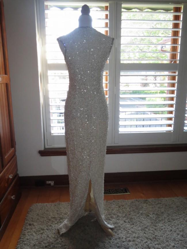 О-образным шеи без рукавов оболочки блесток свадебные платья прием платье передний разрез блестки платье невесты тонкий vestidos casamento