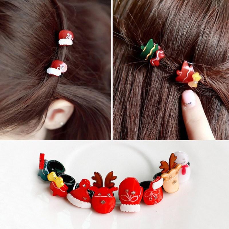 Women Lovely Hair Snap Clips Christmas Headwear Xmas Tree, Cap, Sock, Gloves, Snowman & Elk Barrettes Clamp Hair Accessories(China (Mainland))