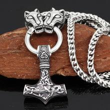 Uomo stainelss testa di lupo con martello di thor pendente della collana con il Re della catena(China)