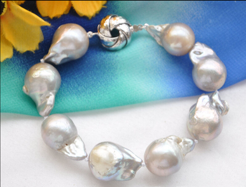 FREE SHIPPING * Huge 19mm gray baroque keshi reborn pearl bracelet 8inch<br><br>Aliexpress
