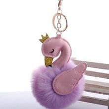 2019 Nova Flamingo Pompom Fofo mulheres pompom de Fourrure femme porte clef Chaveiro Chaveiro Bola de Pêlo de Coelho Pom Pom llavero Saco(China)