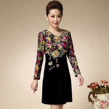 2016 New Plus Size Old Ladies Loose Autumn And Winter Dress  Slim Long Sleeved Jinsirong Straight Print Embroidery Fashion Dress(China (Mainland))