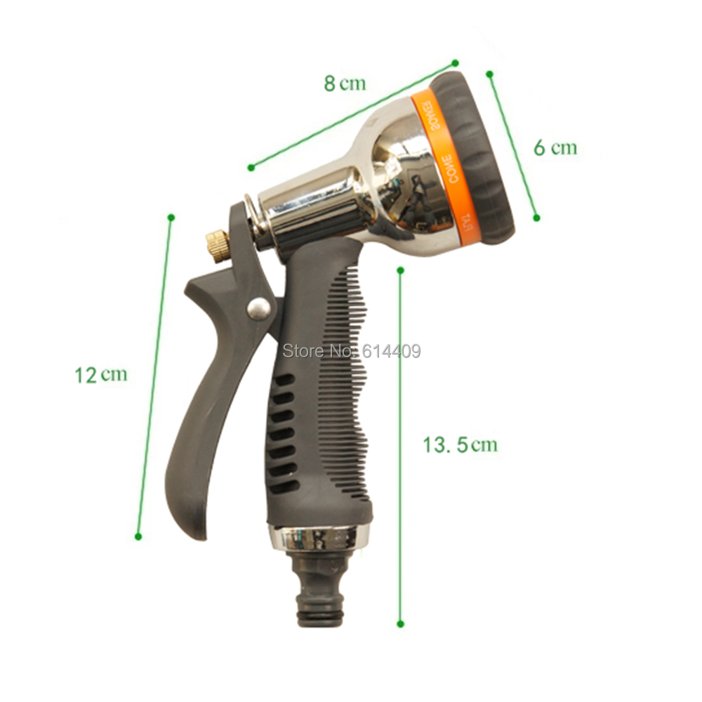 ABS Light Weight Durable Garden Water Gun of  Nozzle Type with 8 Various Spray Pattern also suit Car Clean and Pets Wash