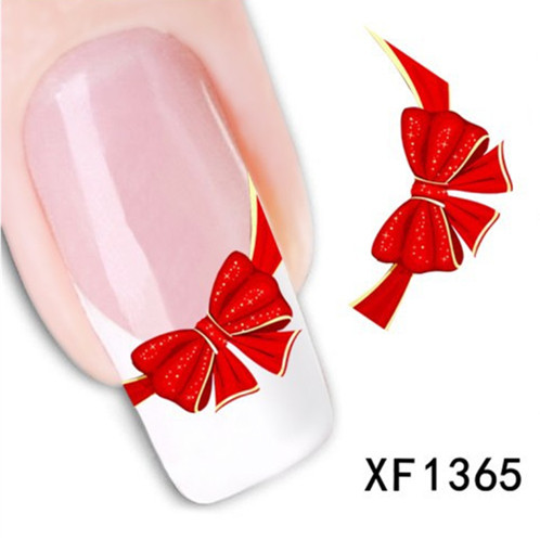 [T-XF1365] Fancy Red Butterfly Tie Sweets Casual Nail Decals Stickers Water Mark Beauty Decorations Foils French Tips Tool(China (Mainland))