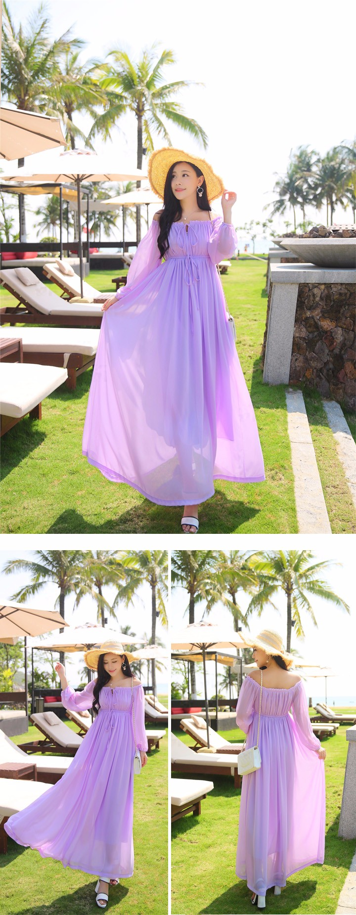 Dress Summer Women Long Dress 2016 Fashion Chiffon Dress New Arrival Empire Slash Neck Dresses Maxi  Ankle-Length Lavender Dress