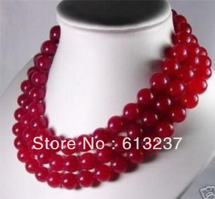 "new 2015 Fashion Style diy 10mm Red Ruby Jade Necklace 50"" beads jewelry making YE2068(China (Mainland))"