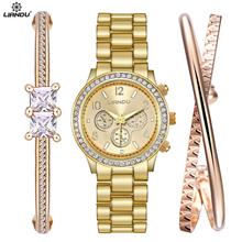 LIANDU Watch Women Fashion Gold Watch & Bracelet Jewelry Set Dress Clock Ladies Casual Quartz Wristwatch(China (Mainland))