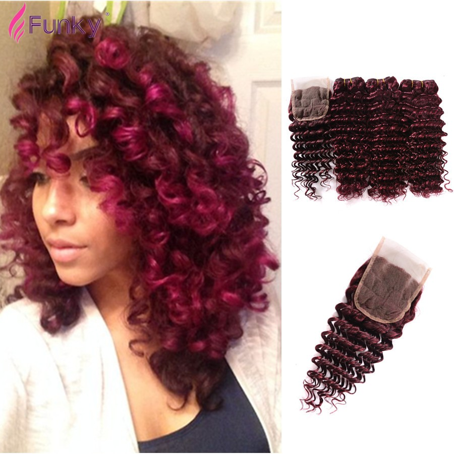 3 bundles with closure loose wave Burgundy Loose Wave Brazilian Hair Loose Deep Wave Curly Virgin Hair 99J Red Spiral Weave