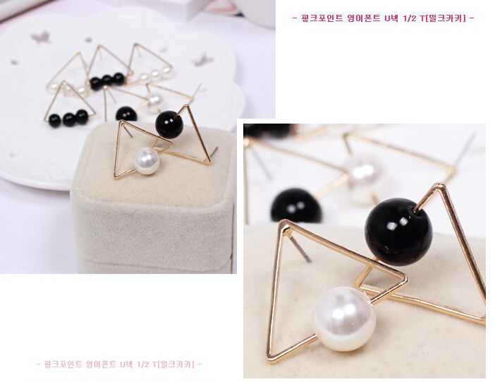 New Korean exaggerated fashion magazines, simple atmospheric metal triangle beaded earrings pearl earrings(China (Mainland))