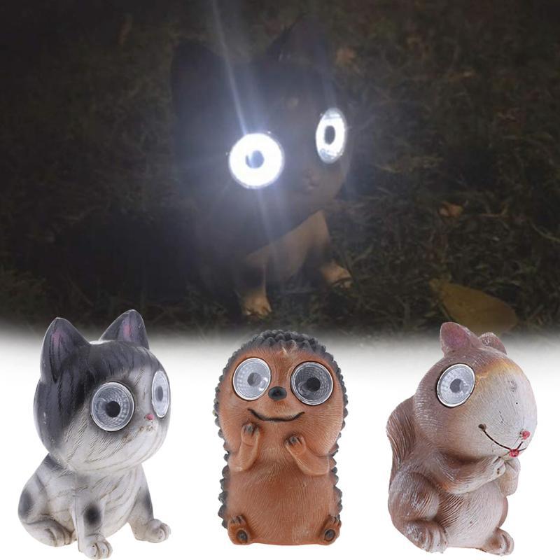 3Pcs Bright Eyes Solar Powered Animal Garden Statue Ornament Light