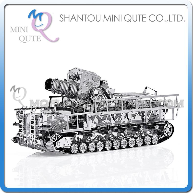 Mini Qute 3D Metal Puzzle Silver Railway Gun tank Truck military Adult kids model educational toys gift NO.P035-S