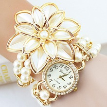 Lady Luxury White Flower Pearl Quartz Bracelet Watch Women Fashion Wristwatches Relogio Feminino Montre Femme Hot Sale