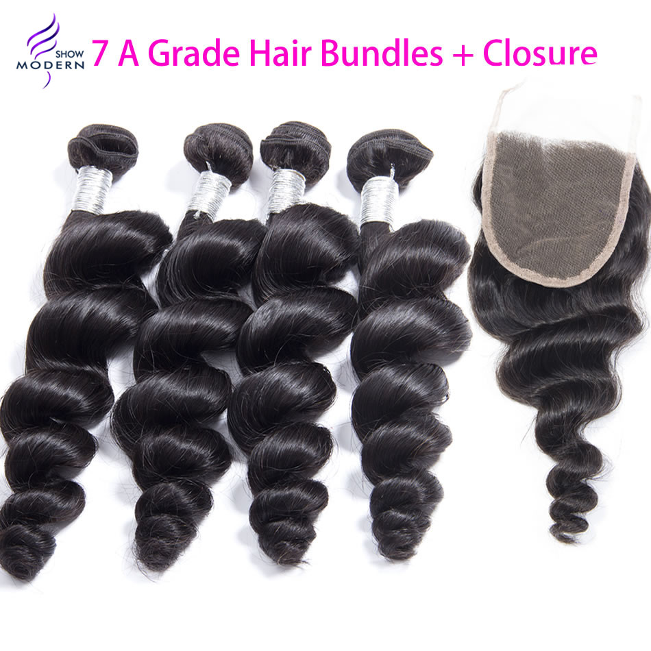 Гаджет  Brazilian Loose Wave Virgin Hair 4pcs Bundles With 1pc Closure 5pcs Rosa Hair Products Virgin Brazilian Loose Wave Hair color1b  None Волосы и аксессуары