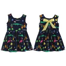 ילדי שמלות ילדי ילדה שרוולים פרח הדפסת כותנה ופשתן פרחוני שמלת תינוקת אביב קיץ שמלות עבור בנות(China)