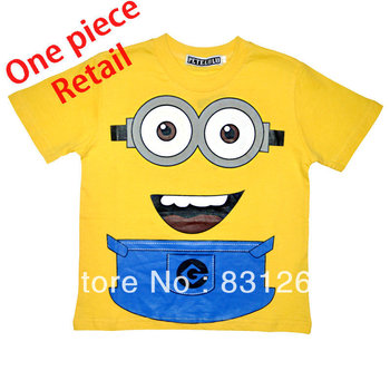 Free Shipping New 2014 Summer Hot Sale Despicable Me 2 Kid Boys Clothing 100%Cotton Short Sleeve Cartoon T shirt Despicable Me