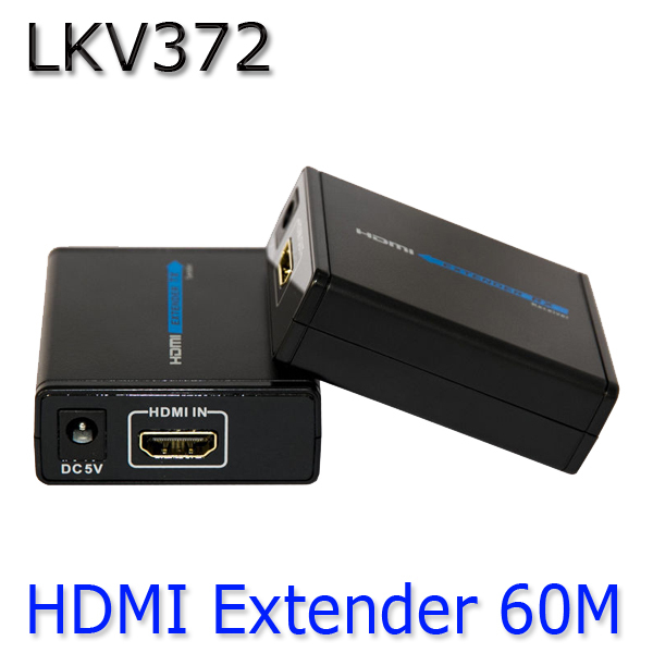 HDMI 1080P Over Ethernet CAT5e CAT6 LKV372 LAN Extender Transmitter + Receiver RJ45 CAT5E CAT6 For HD DVD PS3 Projector US /EU(China (Mainland))