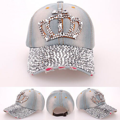 Hats New fashion Crown pearl point drill cowboy baseball cap high quality rhinestone hats for men and women sun hats for women(China (Mainland))