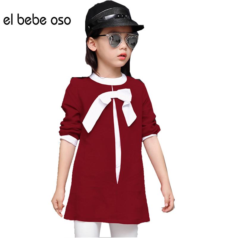 el bebe oso 2016 New Fashion Girls T Shirt Kids Baby Girls Long Style O-Neck Bow Clothes Girls Tops Clothes T Shirt XL618(China (Mainland))