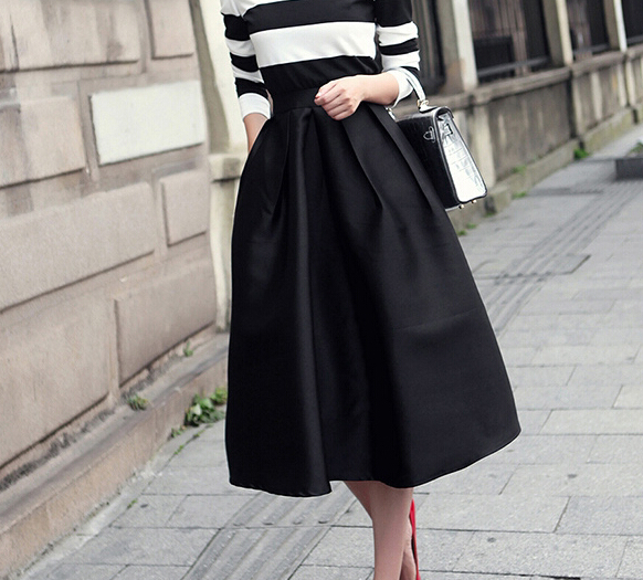 Long Black A Line Skirt