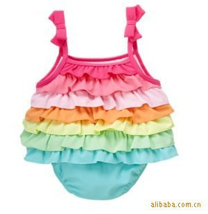 2015 New Arrival Baby Girls Rainbow Baby Romper Colorful Ruffle Design Bebe Princess Cake Dress TUTU Newborn Baby Girl Clothes(China (Mainland))