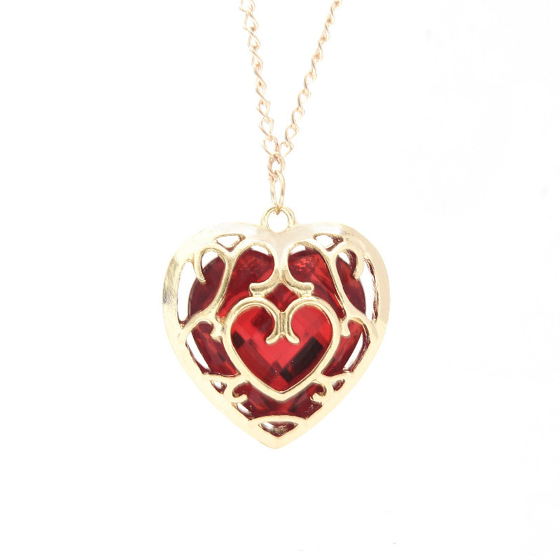 Sunshine The Legend of Zelda blue red Heart Container necklace hollow out 4cm pendant Necklace lovers quality factory price(China (Mainland))