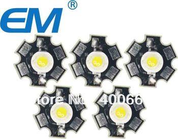 50PCS/lot 1W White High Power LED Light Emitter 6000-6500K with 20mm Star Heatsink