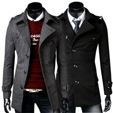 Hot sale men trench coat winter jackets for men's windbreaker men free Black Dark gray shipping CMWT-081(China (Mainland))