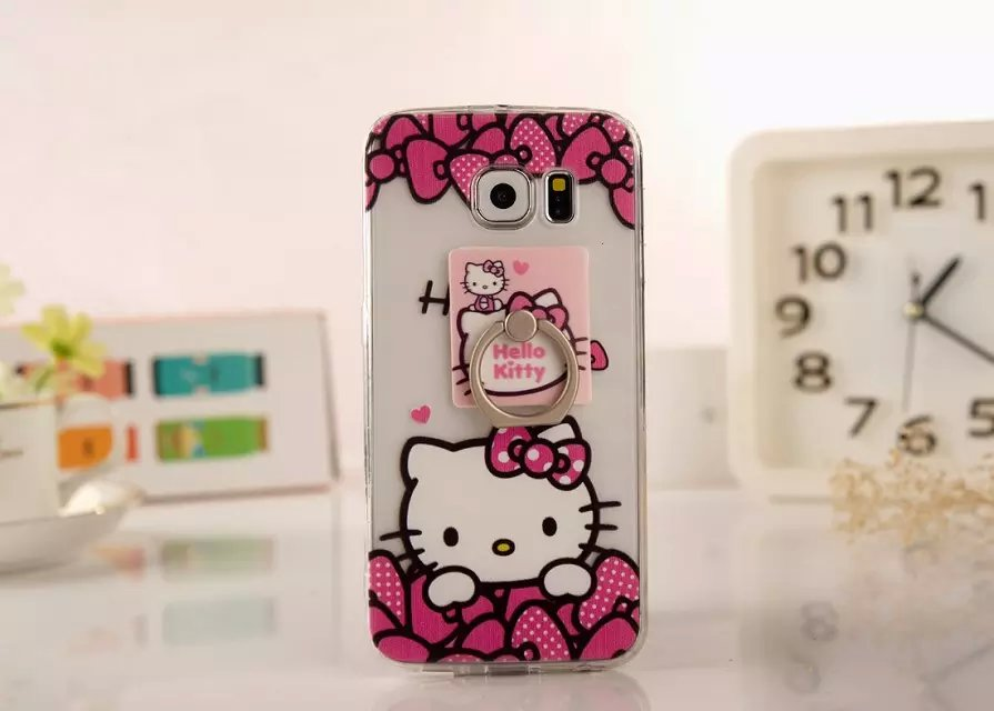 100pcs/lot DHL Free shipping Hello Kitty Ring support PC cell phone case cover for samsung galaxy s6 g9200(China (Mainland))