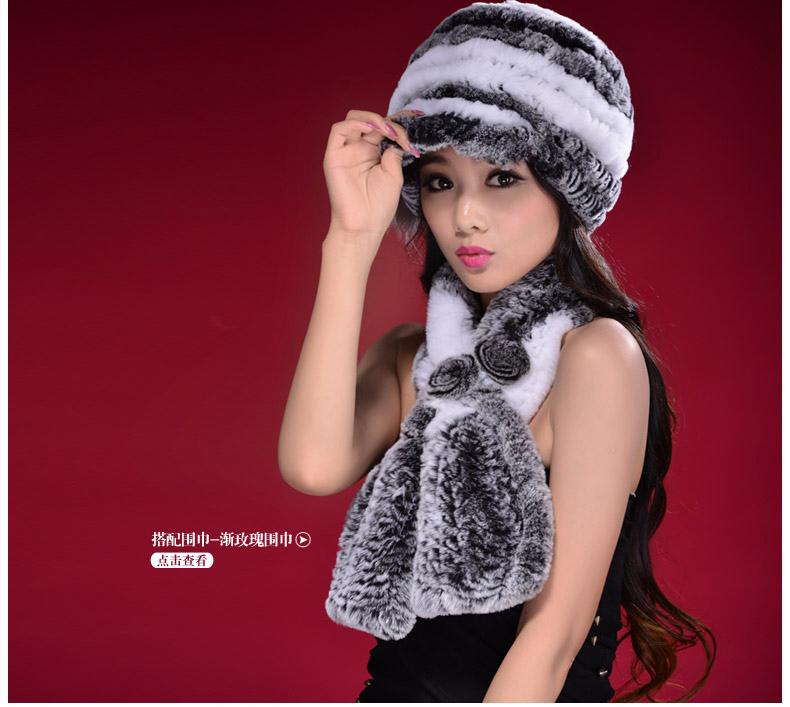 DL-10824 2016 New Women Real Rabbit Fur Hat Fashion Knitted Rex Rabbit Fur Cap Winter Warm Fur Headgear Beanies(China (Mainland))