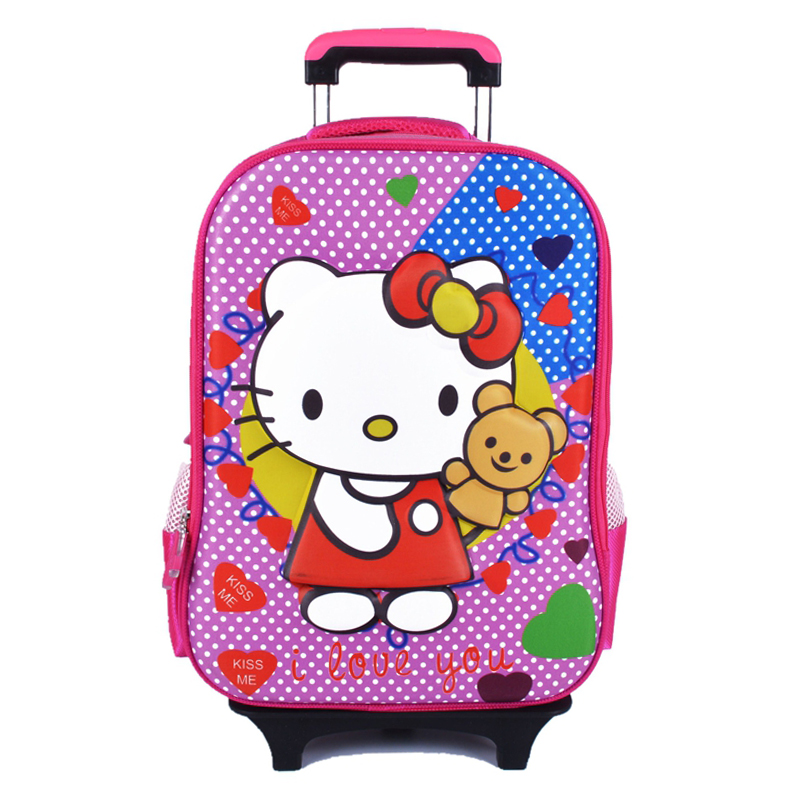 Kids 3D Cartoon Trolley Bags Girls Lovely Backpacks School Student Travell Children Wheel Big Size 055 - YIRU BAGS FACTORY store