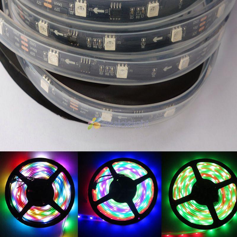 16.4FT 5M WS2811 5050 RGB Dream color 150 Leds 30 IC Digital LED strip Light IP67 Tube Waterproof 12V Black PCB(China (Mainland))