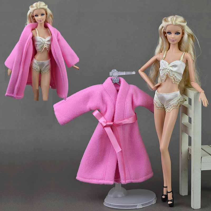 3pcs/set Horny Lace Pajamas Lingerie Set Pink Coat + Bra + Underwear Garments For Barbie Doll Garments Sizzling Promote Doll Equipment