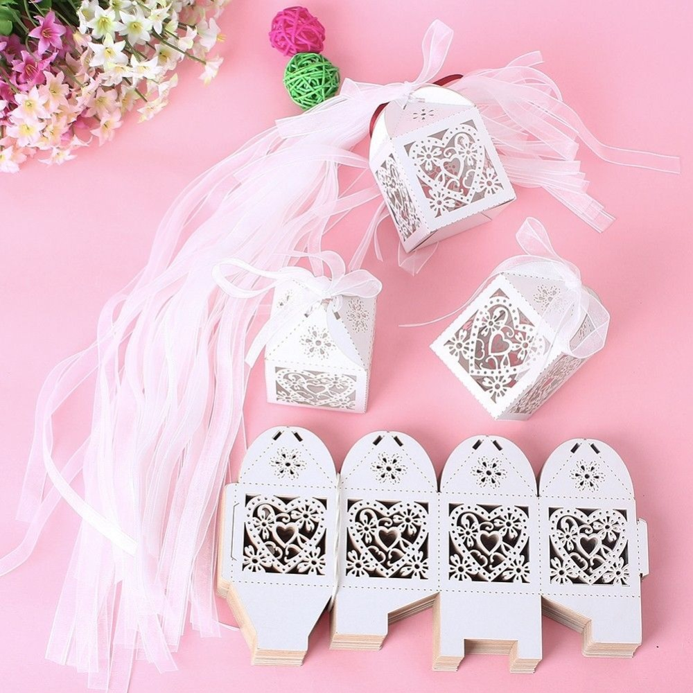 White Wedding Design Laser Cut Box Paper Party Supplies decorations Favor bomboniere New Year Candy Boxes - Kim Store store