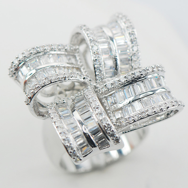 Micropave Simulated Diamond White Sapphire 925 Sterling Silver Ring Size 7 8 9 A17