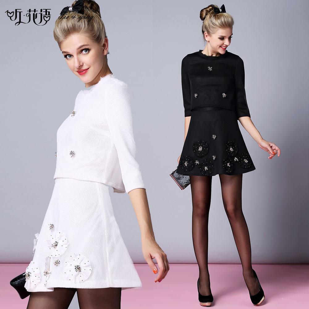 Wholesale2014 autumn small skirt twinset three quarter sleeve top short skirt gauze beading womens ladies set coat+skirtОдежда и ак�е��уары<br><br><br>Aliexpress