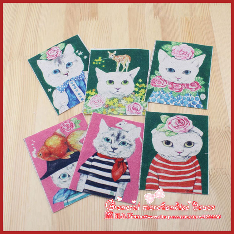 2015 New Arrival 6Pieces/lot 12x9.5cm Assorted Cat Cotton sewing linen fabric Diy Cloth for Patchwork Quilting Tilda(China (Mainland))