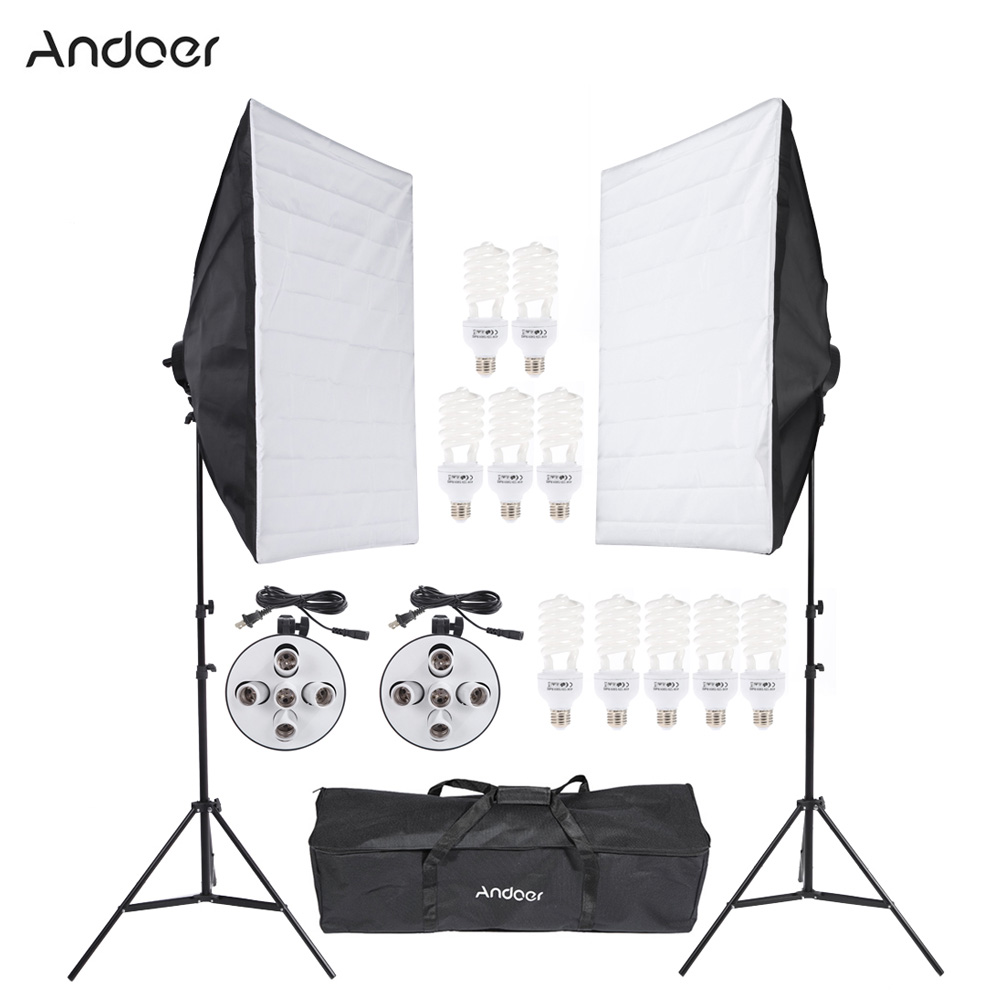 DE US STOCK Professional Photo Studio Lighting Kit With 45W Bulb Softbox Light Socket Tripod Stand Carrying Bag Video Equipment(China (Mainland))