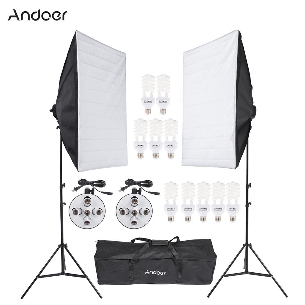 DE US STOCK Professional Photo Studio Lighting Kit With 45W Bulb Softbox Light Socket Tripod Stand Carrying Bag Video Equipment(China (Mainland))