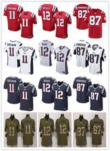 2016 elite Men Best quality 100% Stitiched,New England Patriots,12# Tom Brady, #87 Rob Gronkowski #11 Julian_Edelman(China (Mainland))